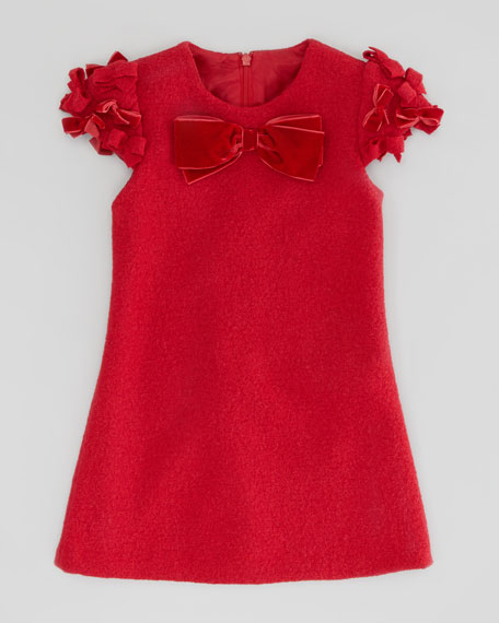 Boiled Wool Bow Dress, Red, Sizes 2-10Y