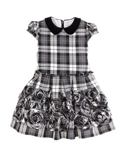 David Charles Plaid Rose-Applique Dress, Black/White, Sizes 2-10Y