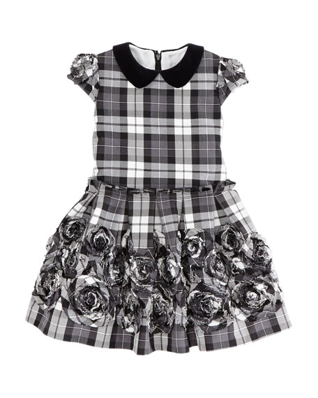 Plaid Rose-Applique Dress, Black/White, Sizes 2-10Y