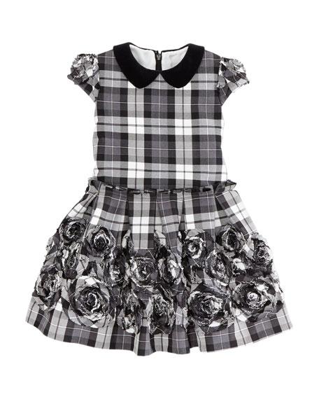 Plaid Rose-Applique Dress, Black/White, Sizes 2-10Y