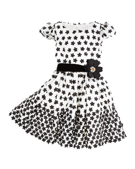 Floral-Applique Dress, Ivory/Black, Sizes 2Y-10Y