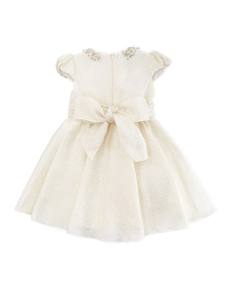 Jeweled Collar Dress, Ivory/Gold, Sizes 2Y-10Y