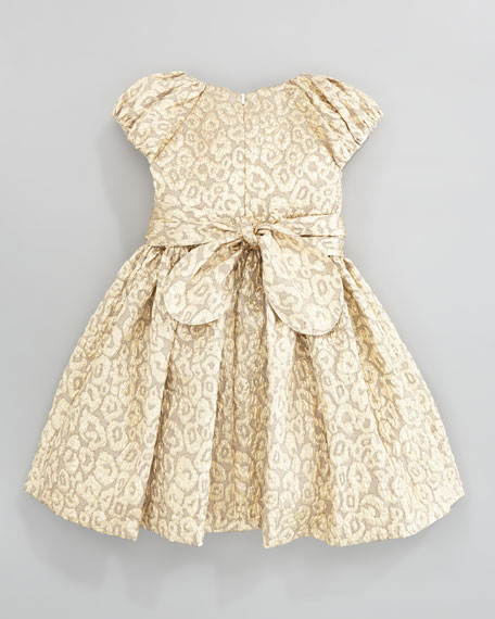 Brocade Floral-Belt Dress, Gold, Sizes 2Y-10Y