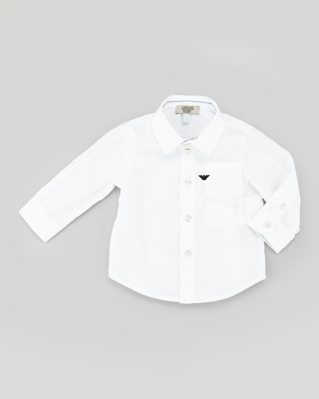 Stretch-Poplin Shirt, White Wash, 3-24 Months