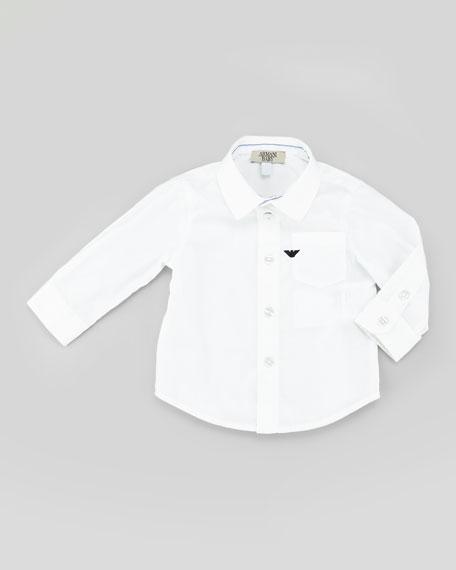 Stretch-Poplin Shirt, White Wash, 3-24 Months