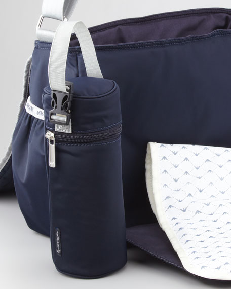 Nylon Quilted-Flap Diaper Bag, Navy Blue
