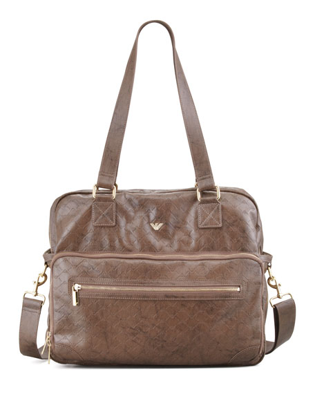 Faux-Leather Logo Diaper Bag, Chocolate