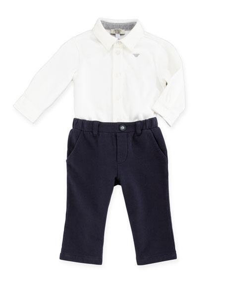 Herringbone-Print Vest, Long-Sleeve Jersey Shirt & Jersey Pants Set, 3-24 Months