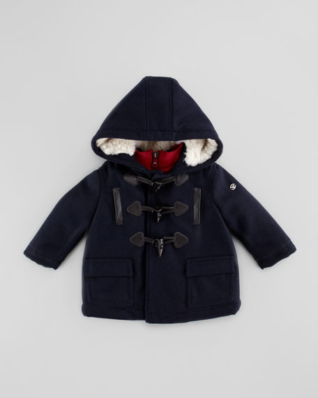 Two-Layer Nylon/Wool Coat, Blue/Red, 3-24 Months