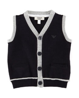 Armani Junior Sweater Vest with Contrast Trim, Blue, 3-24 Months