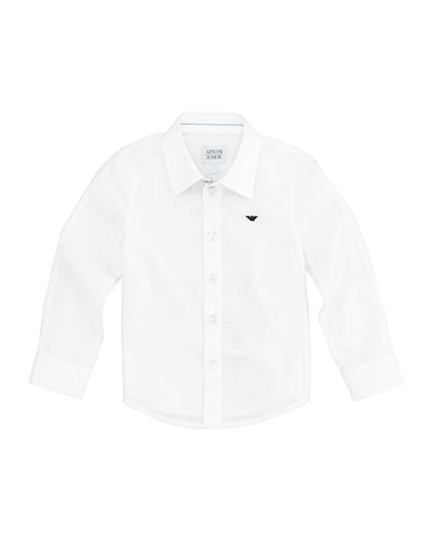 Armani Junior Stretch-Poplin Button-Down Shirt, White Wash, 2Y-8Y