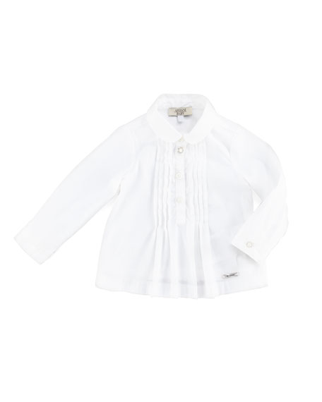 Pintuck Button-Down Blouse, White, 3-24 Months