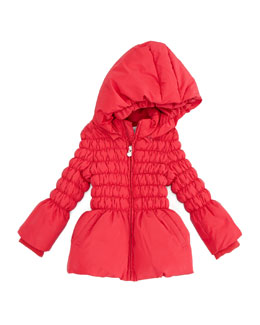 Armani Junior Cinched Puffer Jacket, Red, 2Y-8Y