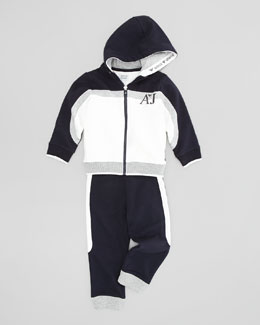Armani Junior Jersey Track Suit, Multi, 2Y-8Y
