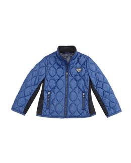 Armani Junior Lightweight Quilted Jacket, Blue, 2Y-8Y