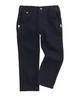 Armani Junior Basic Twill Pants, Blue, 2Y-8Y