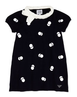 Armani Junior Polka-Dot Short-Sleeve Dress, Blue, Sizes 2-8
