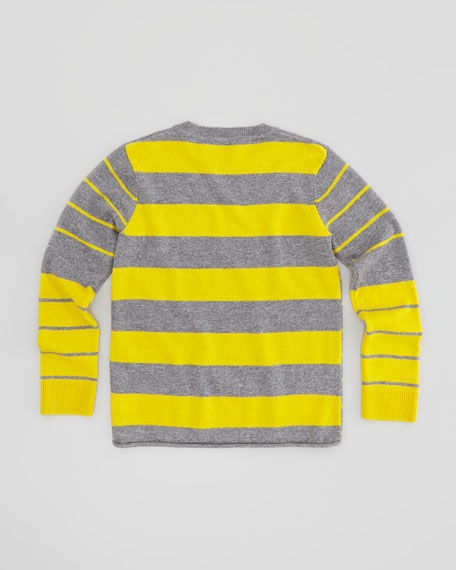 Twig Stripe Owl Sweater, Gray, 3-24 Months