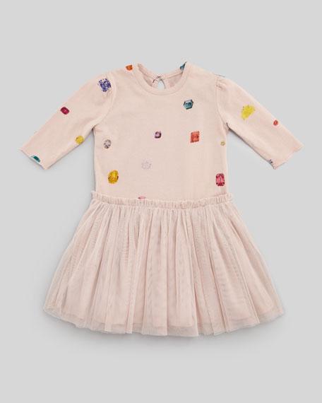 Primrose Dress with Jewel-Print, Pink, 3-24 Months