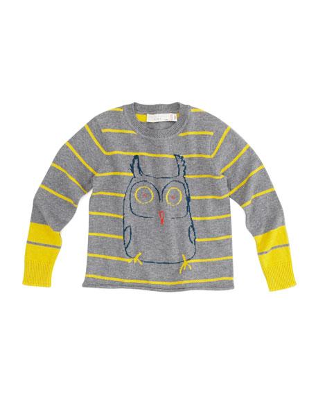 Wiggins Striped Owl Sweater, Gray, Sizes 2-10