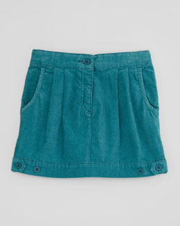 Stella McCartney Aria Pleated Corduroy Skirt, Teal, Sizes 2-10