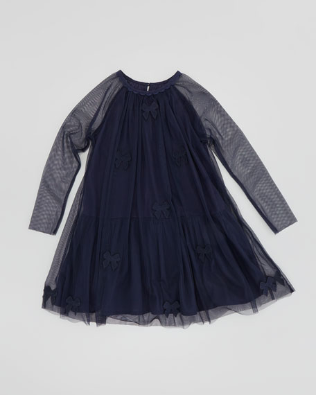 Misty Tulle Dress with Bow Appliques, Navy, Sizes 2T-10
