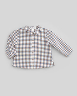 Marie Chantal Box-Check Long-Sleeve Shirt, Brown/Navy, 6-24 Months