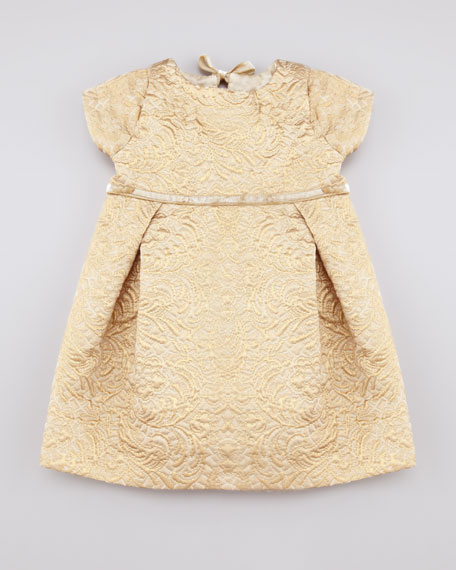 Metallic Jacquard Dress, Gold, 6-24 Months