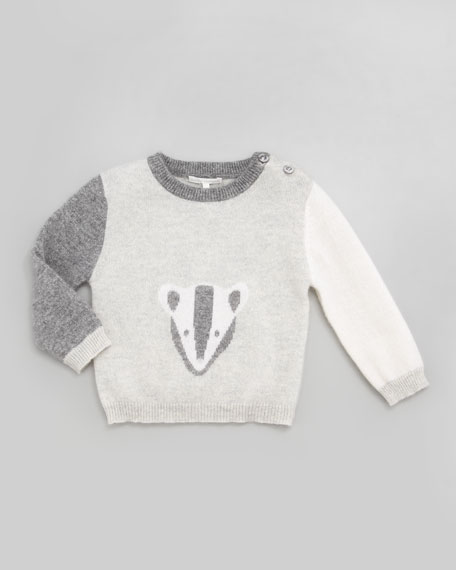 Badger Colorblock Intarsia Cashmere Sweater, Gray, 6-24 Months