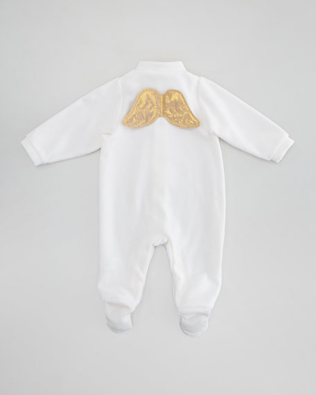Angel Wing Sleepsuit, Cream/Gold
