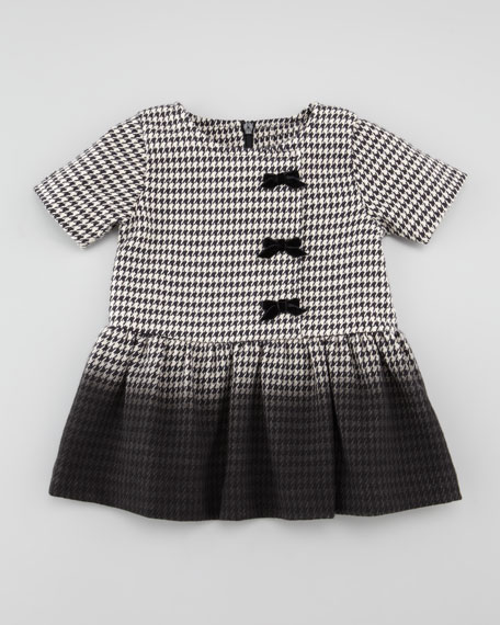 Ombre Houndstooth Dress, Black/White, 3-18 Months