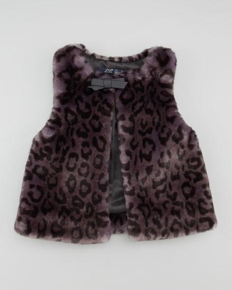 Leopard-Print Faux-Fur Vest, Aubergine, Sizes 2Y-6Y