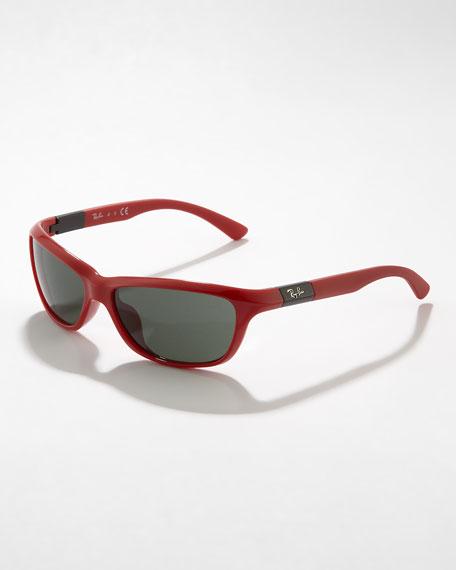 Junior Oval Plastic Sunglasses, Red