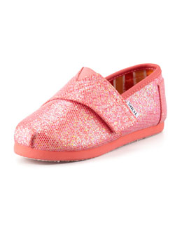 TOMS Tiny Coated Glitter Slip-On, Fuchsia