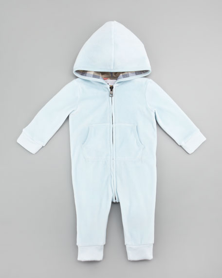 Velour Hooded Coveralls, Porcelain Blue, 3-24 Months