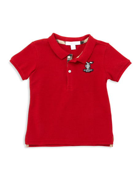 Burberry Short-Sleeve Knight Polo, Red, Sizes 18M-3Y