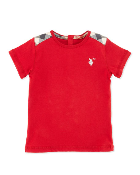 Check-Shoulder Short-Sleeve Shirt, Military Red, 12M-3Y