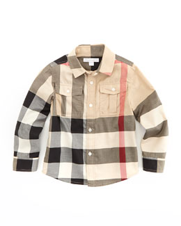 Burberry Boys' Check Military Shirt, New Classic, 4Y-10Y