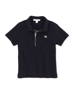 Burberry Check-Trim Polo, Navy, 4Y-10Y