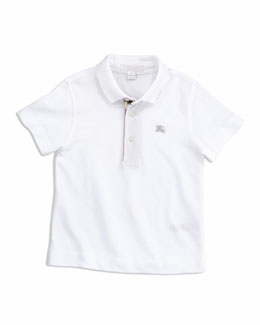 Burberry Check-Trim Polo, White, 4Y-10Y