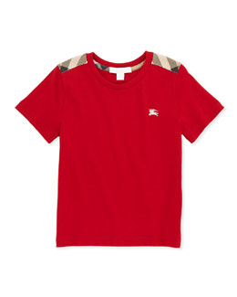 Burberry Check-Shoulder Tee, Red, 4Y-10Y