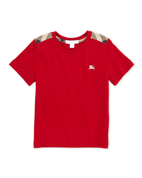 Lencel Check-Shoulder Tee, Red, 4Y-10Y