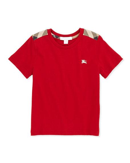 Lencel Check-Shoulder Tee, Red, 4Y-10Y