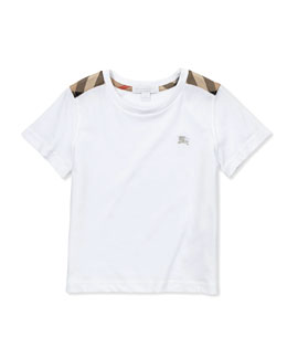 Burberry Check-Shoulder Tee, White, 4Y-10Y