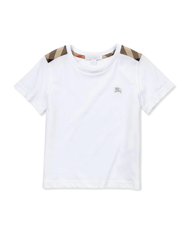 d4a30c9444bb Burberry Lencel Check-Shoulder Tee, White, 4Y-10Y   Neiman Marcus