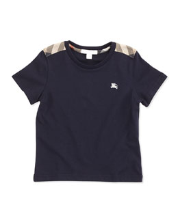 Burberry Boys' Check-Shoulder Tee, Navy, 4Y-10Y