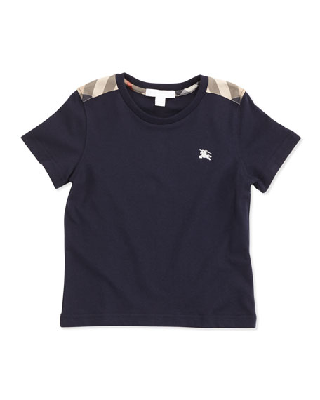 Burberry Lencel Boys' Check-Shoulder Tee, Navy, 4Y-10Y