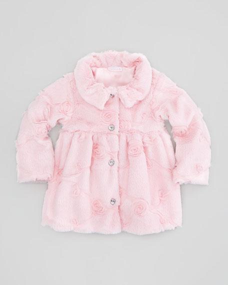 Poppy Seed-Swirls Faux-Fur Coat, Pink, 12-24 Months