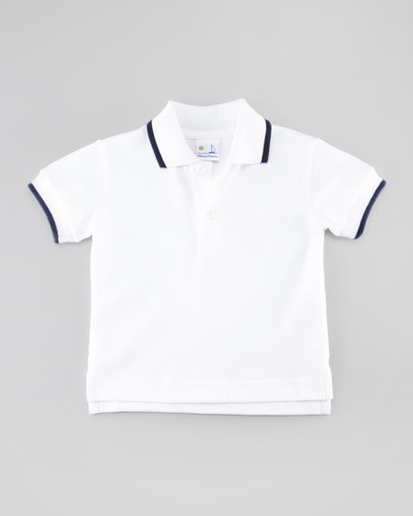 Tipped Pique Polo, White, 12-24 Months