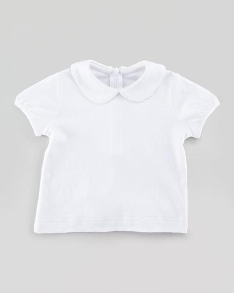 Short-Sleeve Knit Shirt, White, 12-24M